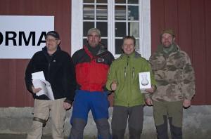 Gutta som stakk av med premiene! Fra venstre: Erlend Gravningsmyr, Alf Helge Justad, Tom Karlsen og Arild Støen